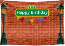 DePhoto 7X5FT Brick Wall Street Backdrop 1st Girl or Boy Birthday Party Baby Shower Photography Seamless Vinyl Photo Background Studio Prop PGT529A