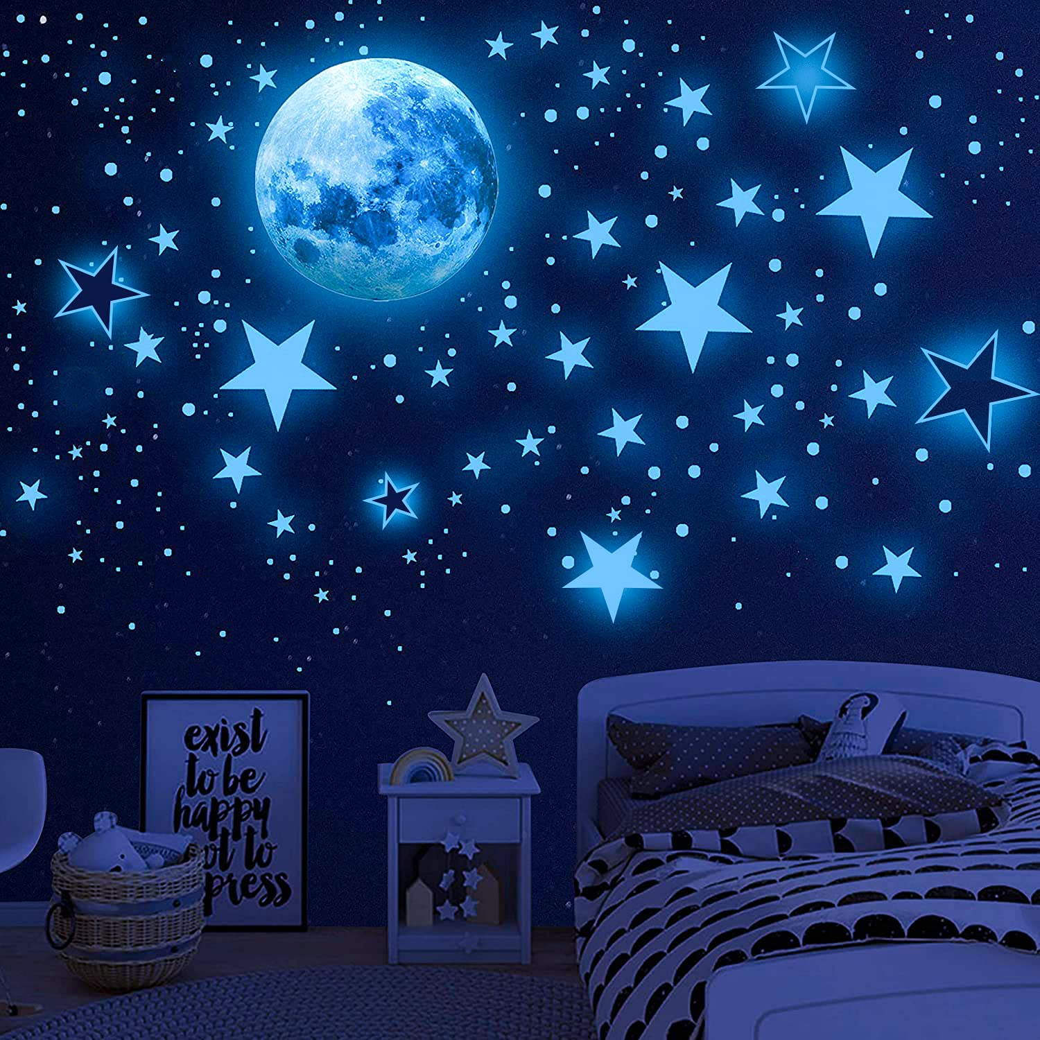 Airsnigi Glow in The Dark Stars for Ceiling,1120PCS Adhesive Wall Stickers,Including Glow Stars and The Moon,Glowing Stars for Ceiling and Wall Decals,Perfect for Kids Bedroom and Kids Birthday Gift (Blue)