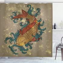 """Ambesonne Japanese Shower Curtain, Grunge Style Oriental Water Koi Carp Fish Aquatic Theme Distressed Pattern, Cloth Fabric Bathroom Decor Set with Hooks, 84"""" Long Extra, Taupe Teal"""