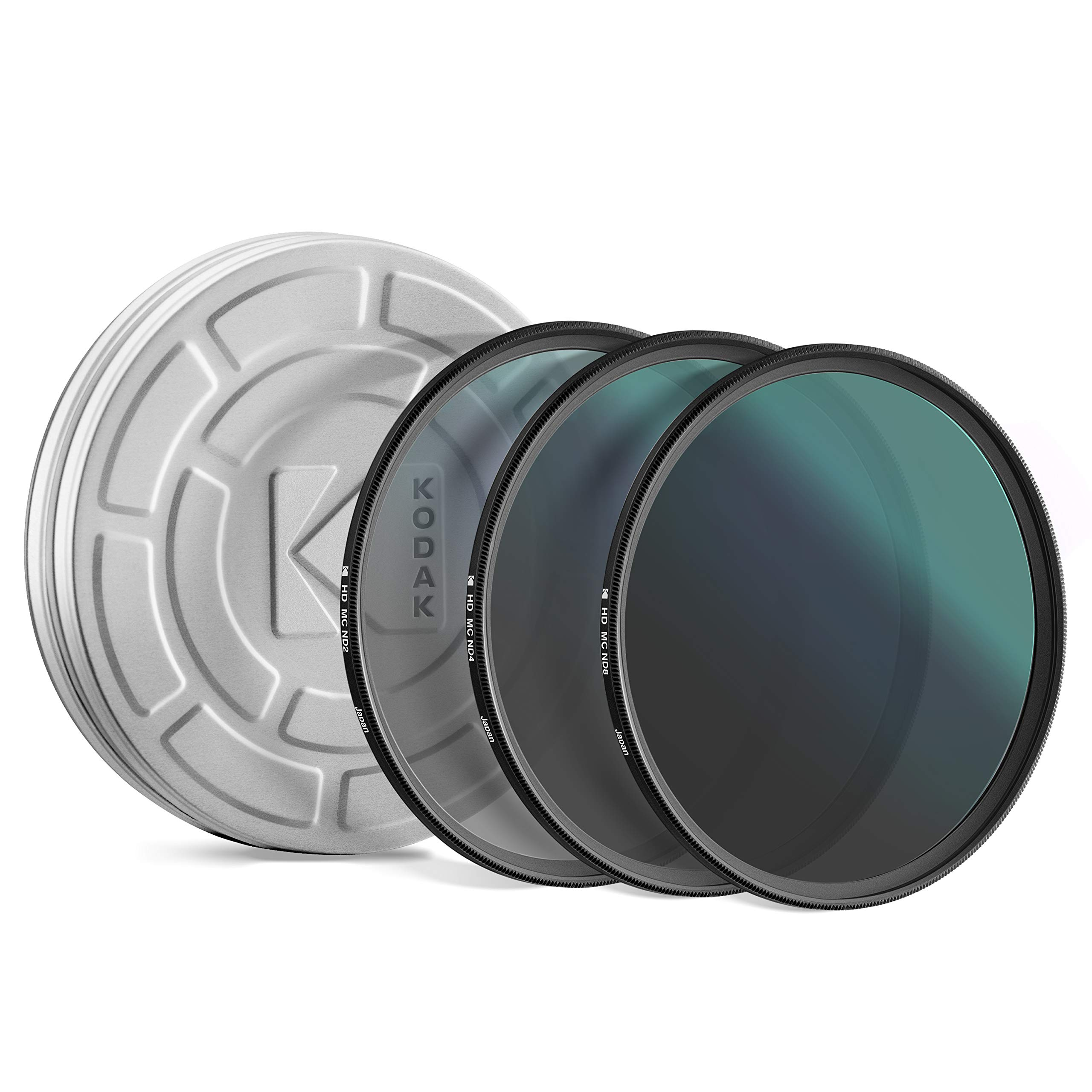 KODAK 62mm Neutral Density Filter Set | Pack of [3] ND2, ND4 & ND8 Filters | Prevent Overexposure Achieve Shallow Depth of Field Capture Motion Blur | Slim, Polished, Multi-Coated Glass & Mini Guide