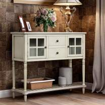 Sideboard, Solid Wood Dining Table, Side Cabinet Console Table with Two Storage Drawers, Two Cabinets and Bottom Shelf, for Living Room and Entrance (Antique Grey)