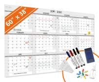HEA Large Dry Erase Year Wall Calendar   Premium New Laminate   Blank Undated, Reusable & Erasable 12 Month 2020 Annual Planner   Classroom, Fiscal Year, Office, Project Schedule (60'' x 38'')