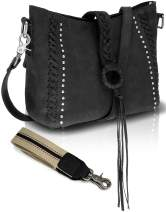 Real Cowhide Leather Crossbody Purse for Women Studded Genuine Leather Hobo Handbag With Shoulder Strap