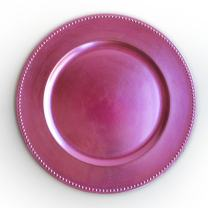 """ChargeIt by Jay 1270173 Beaded Charger Large Decorative Melamine Service Plate for Home & Professional Fine Dining-for Catering Events, Dinner Parties, Weddings, 13"""", Pink"""