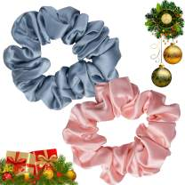 K meet Q Hair Scrunchies for Women Girls Sleep, Soft 100% Pure Real Silk Scrunchie, Fit for Curly Fine Thick Thin Hair 2 Packs (Pink, Blue)
