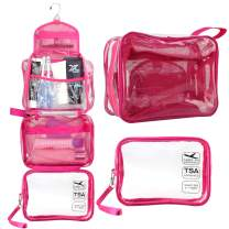 Hanging Toiletry Bag, Clear Travel Toiletry Bag with Detachable TSA Approved Small Clear Bag Airline 3-1-1 Carry On Compliant Bag Makeup Bag for Men and Women (Hot Pink)
