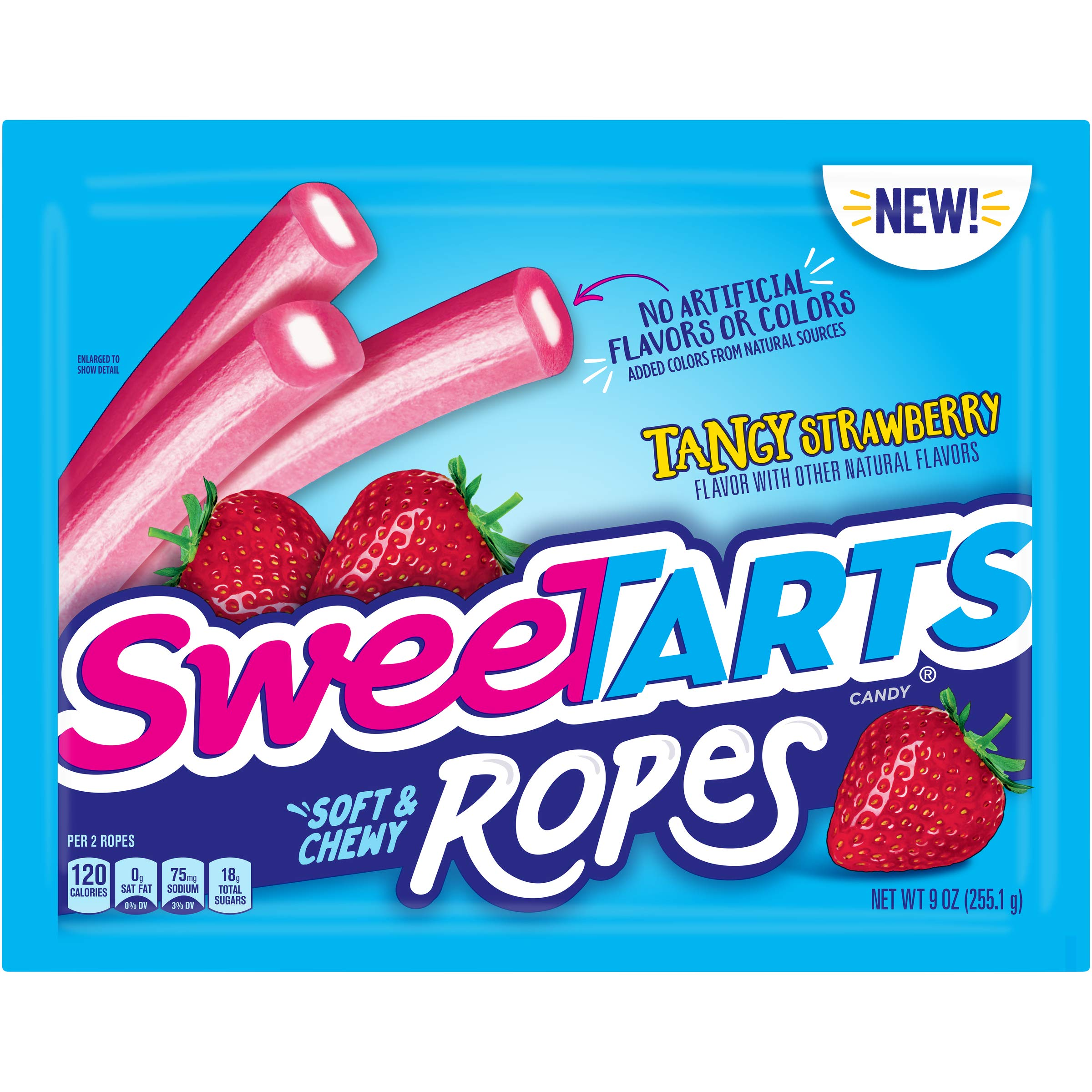 SweeTARTS Tangy Strawberry Ropes Soft & Chewy Candy, 9 Ounce (Pack of 12)