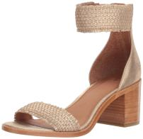 FRYE Women's Bianca Woven Back Zip Heeled Sandal, Gold, 9.5 M US