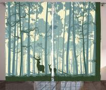 """Ambesonne Deer Curtains, Animal Silhouette in Foggy Forest Animals in Nature Themed Cartoon Dusk Artwork, Living Room Bedroom Window Drapes 2 Panel Set, 108"""" X 84"""", Plum"""