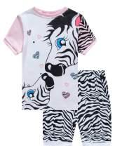 Pajamas Set for Girls Short Sleeve Sleepwears Kids Short Pjs Sets Baby Summer 100% Cotton Pj
