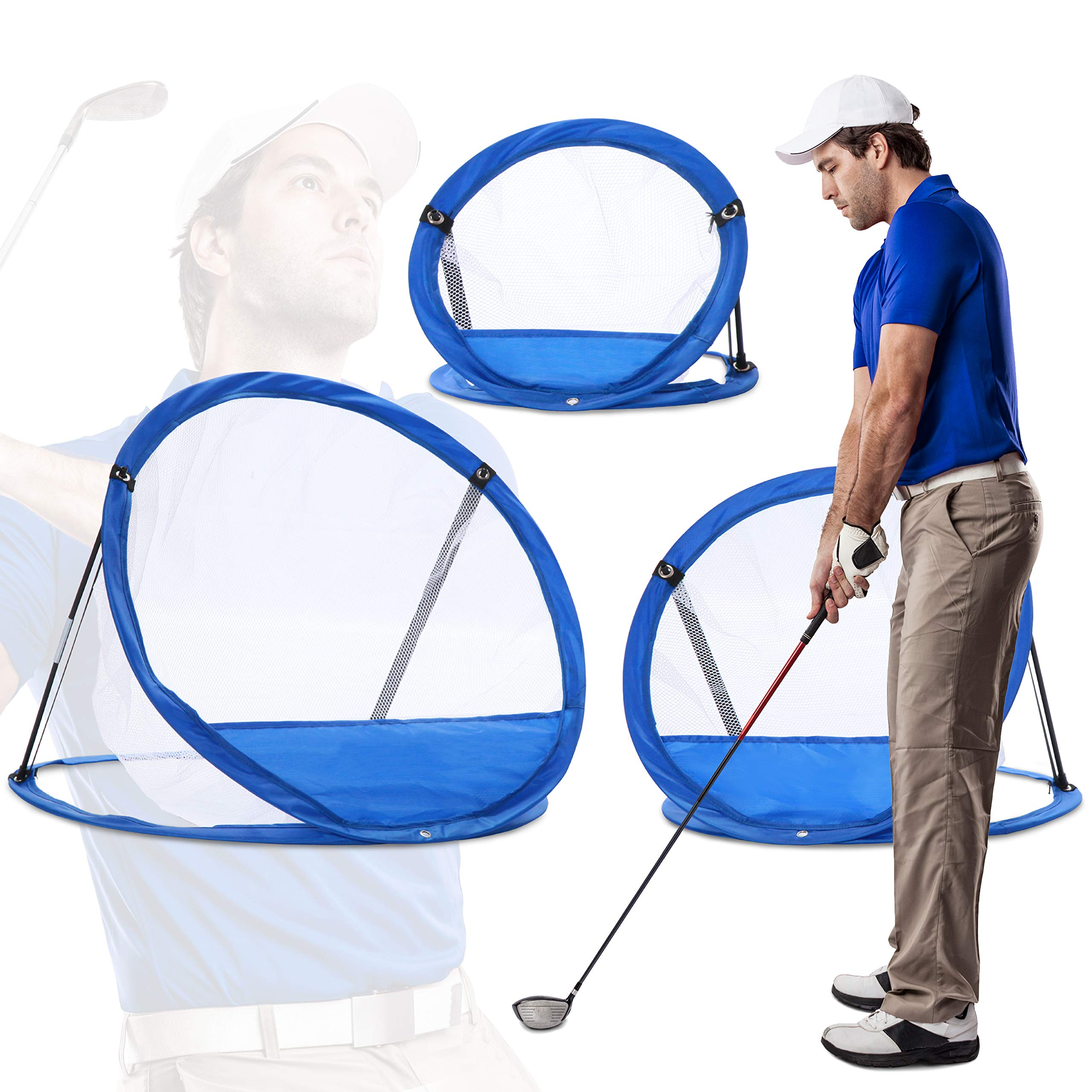 Tri Great USA CORP Golf Net Practice Equipment, Training Gear & Aids   Home, Office Sport Games, Gifts for Husband/Boyfriend (3-Pc. Combo Set)