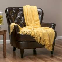 Chanasya Fuzzy Textured Shiny Thread Soft Fluffy Throw Blanket Warm Cozy Plush Luxurious Blanket for Sofa Chair Couch Bed Living Room with Fringed Tassels Sunny Throw Blanket (50x65 Inches) Yellow