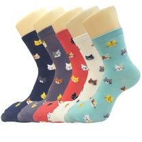 Pack of 5 Womens Cute Animals Socks Girls Warm Novelty Funny Cartoon Cotton Crew Socks
