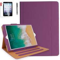 iPad 9.7 inch 2018 2017 Air2 Air1 Case with Screen Protector and Stylus - iPad 5th 6th Generation Case - Hand Strap, Auto Sleep Wake, Multi-Angle Stand A1822 A1823 A1474 A1475 A1566 A1567(Purple)