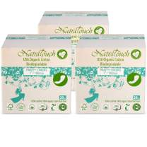NATRATOUCH ~ COMPOSTABLE ~ Certified Organic Cotton Panty Liner Long (3 Pack Total 60 Liners)