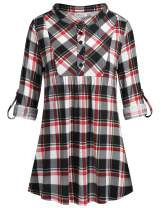 Helloacc Womens Mandarin Neck 3/4 Roll Sleeve Plaid Shirt Button Down Tunic Tops