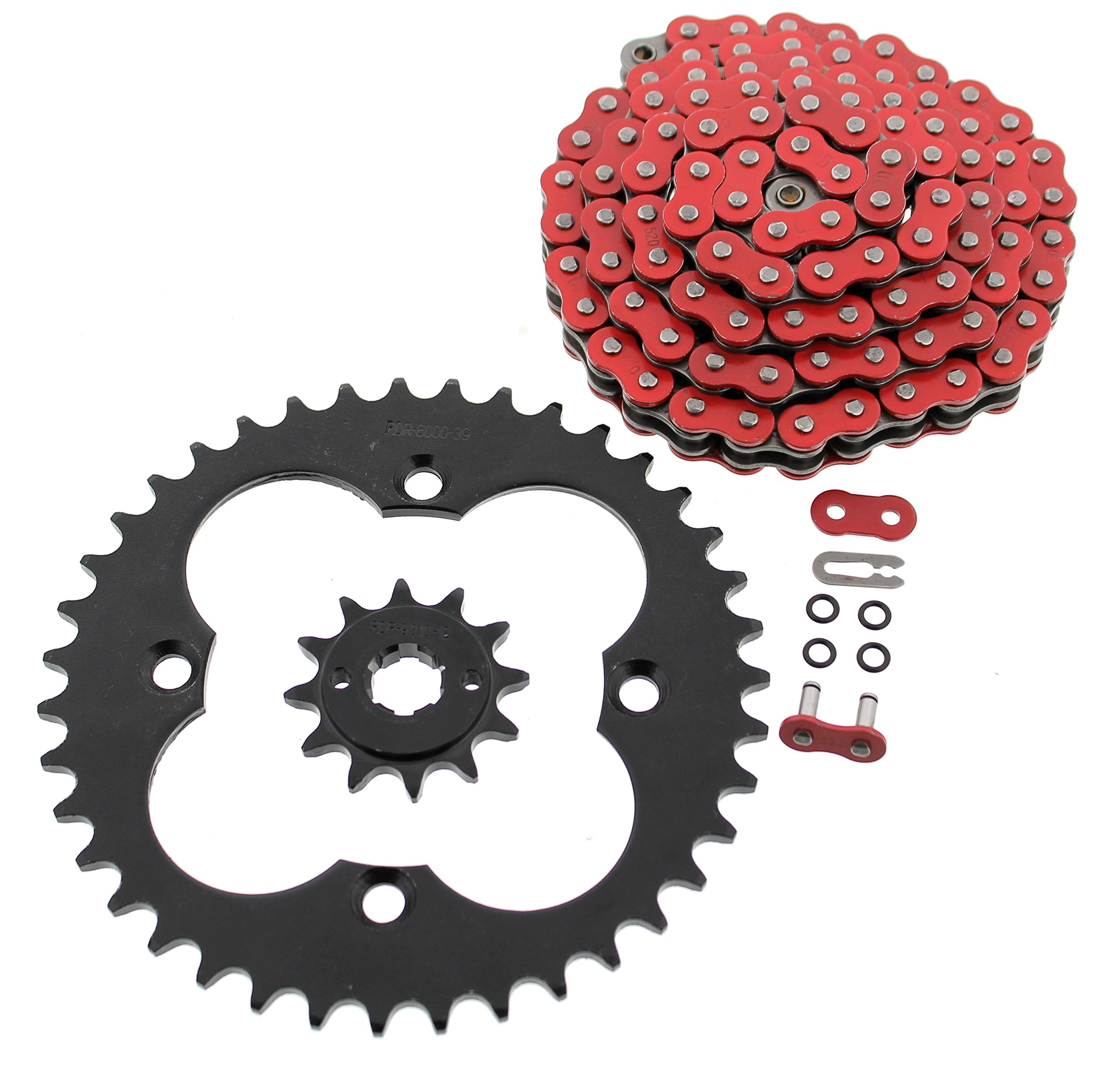 1986 1987 Fits Honda TRX250R TRX 250R Red O-Ring Chain and Black Sprocket 12/39 96L