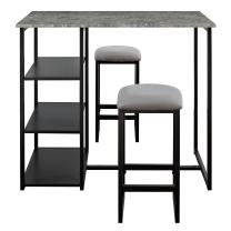 Dorel Living Farley 3-Piece Pub Set with Faux Concrete Top, Gray / Black