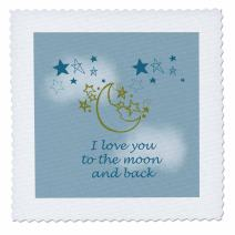 3dRose Love You to The Moon and Back-Quilt Square, 8 by 8-inch (qs_155825_3)