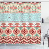 "Lunarable Aztec Shower Curtain, Culture Inspirations Ornamental Indigenous Chevron, Cloth Fabric Bathroom Decor Set with Hooks, 70"" Long, Turquoise Beige"
