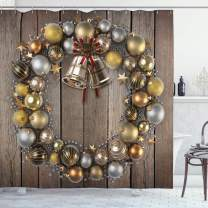 """Ambesonne Christmas Shower Curtain, Wreath Style Ornament with Baubles on Rustic Style Background Wooden Board Theme, Cloth Fabric Bathroom Decor Set with Hooks, 70"""" Long, Brown Vermilion"""