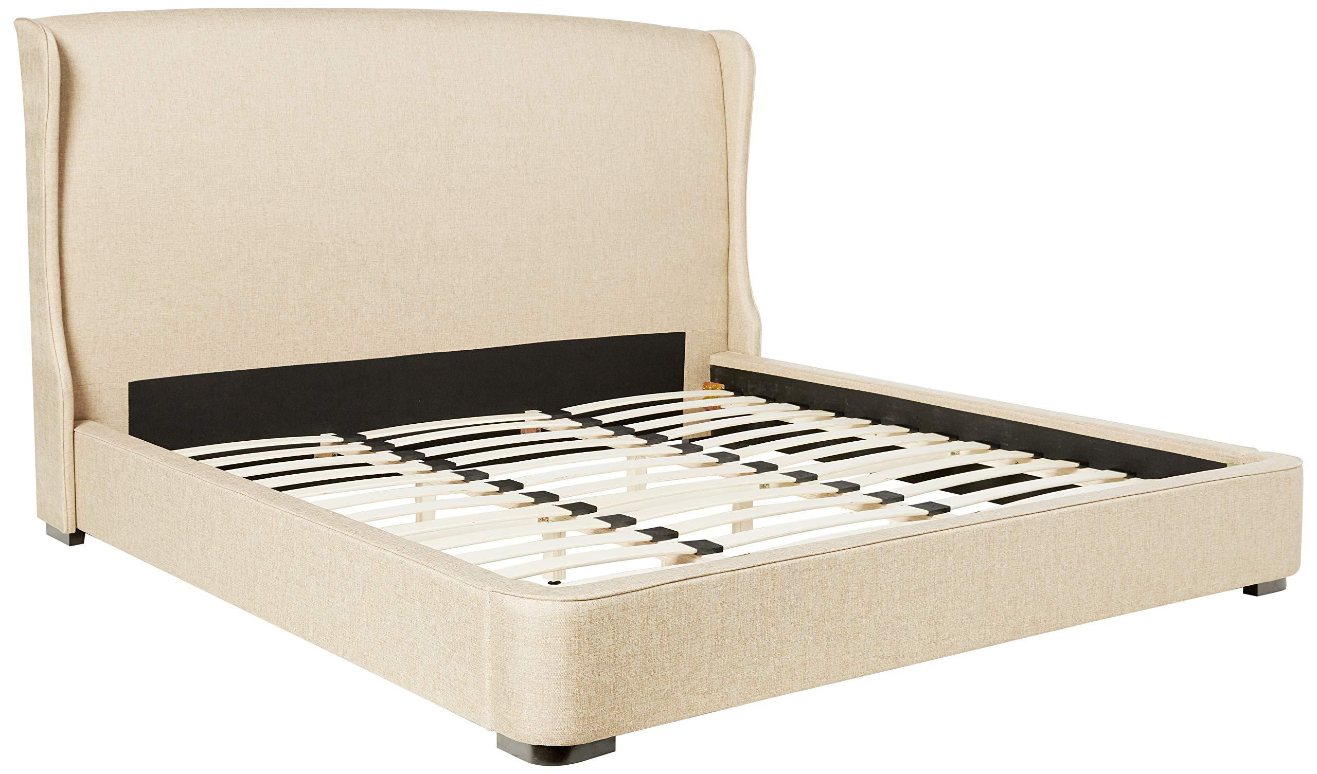 Baxton Studio Sheila Linen Modern Bed With Upholstered Headboard King Tan