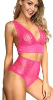 The victory of cupid Women 2 Piece Floral Lingerie Sets Lace Babydoll Bralette Bra and Panty Set