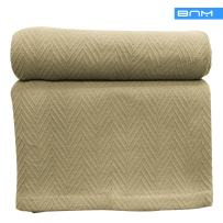 Cotton Blanket, Soft & Cozy, Woven, All-Season Throw, Breathable, Medium Weight, Picnic, Beach, Traveling, Camping, Thermal Blanket, Herringbone Pattern, Twin, Sage