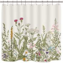 Riyidecor Green Leaves Shower Curtain Floral Flower Tulip Tree Plants Ivy White Brown Herbs Decor Bathroom Set Polyester Waterproof 72x72 Inch Plastic Hooks 12 Pack