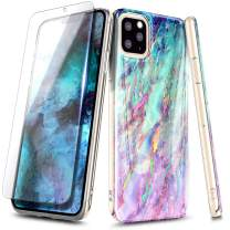NageBee Case for iPhone 11 Pro (2019), Ultra Slim Thin Glossy Stylish Marble Designed Protective Bumper Cover Phone Case with Tempered Glass Screen Protector -Nova