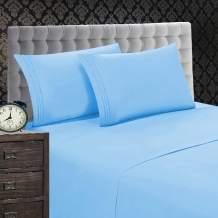"Elegant Comfort 1500 Thread Count Wrinkle & Fade Resistant 4 pc Sheet Set, Deep Pocket Up to 18"" and Colors , King Aqua"