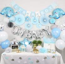 NAHA FLUME Elephant Baby Shower Decorations for Boy   180pc Blue & Silver OH BABY Boy Baby Shower Decorations   Its a Boy Decorations for Baby Shower Boy Decor   Baby Boy Shower Decorations Theme