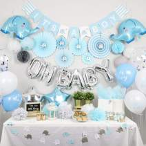 NAHA FLUME Elephant Baby Shower Decorations for Boy | 180pc Blue & Silver OH BABY Boy Baby Shower Decorations | Its a Boy Decorations for Baby Shower Boy Decor | Baby Boy Shower Decorations Theme