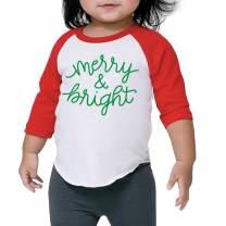 Kids Christmas Shirt, Merry and Bright Red Raglan