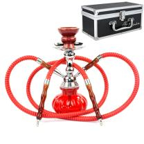 "GStar 11"" Premium 2 Hose Hookah Complete Set - Mini Pumpkin Hookah Glass Vase - Pick Your Color (Crimson Red + Case)"