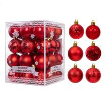 WBHome 36ct Christmas Ball Ornaments Set 2.36 inches / 60mm - RED, 2020, Shatterproof Decorations Christmas Tree Ornaments, Hooks Included