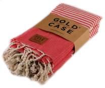 Gold Case Hera Small Peshtemal Set of 4 Turkish Bath Spa Yoga Tea Towel for Hand Face Kitchen 20x40 100% Cotton Red
