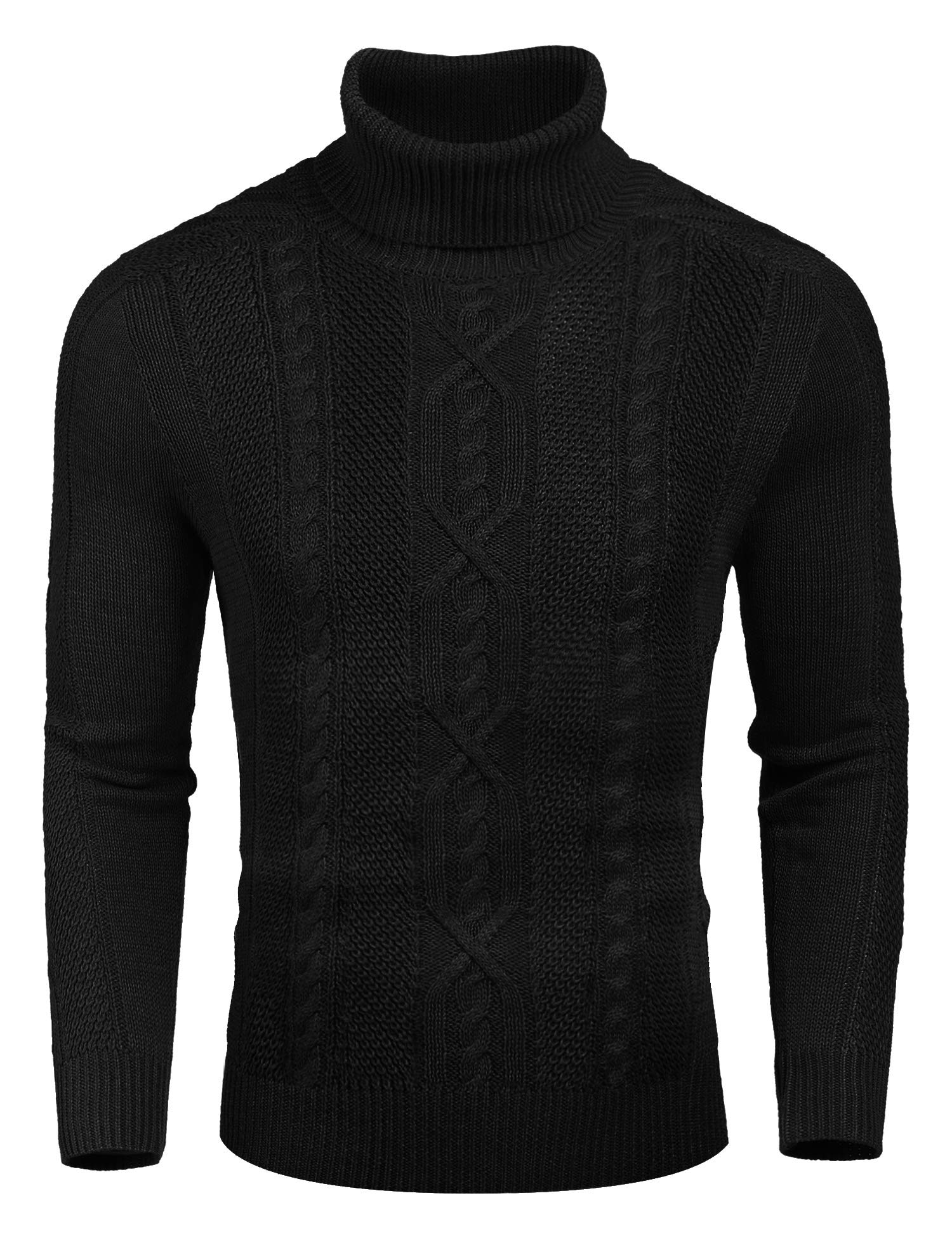 COOFANDY Men's Casual Turtleneck Sweater Warm Slim Fit Twisted Knitted Pullover Sweaters