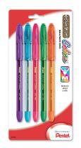 Pentel R.S.V.P. Colors Ballpoint Pen, Medium, Assorted Ink, Pack of 5 (BK91CRBP5M)