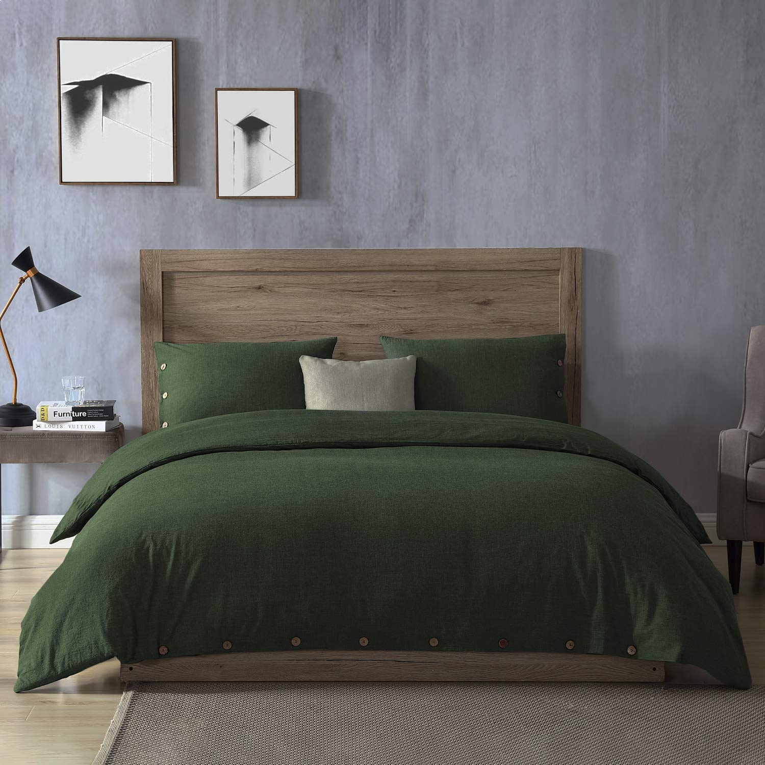 Exq Home Olivine Green Duvet Cover Set King Size 3 Pieces Super Soft Wrinkled Vintage Bedding Down Comforter Cover With Button Closure Machine Washable Breathable Microfiber Polyester Duvet Cover