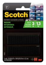 """Scotch Multi-Purpose Hook and Loop Fastener Strips, 3/4 in x 3 in, 4 Sets, For Indoor Use, Holds up to 3 lbs/1 lb per 1"""""""