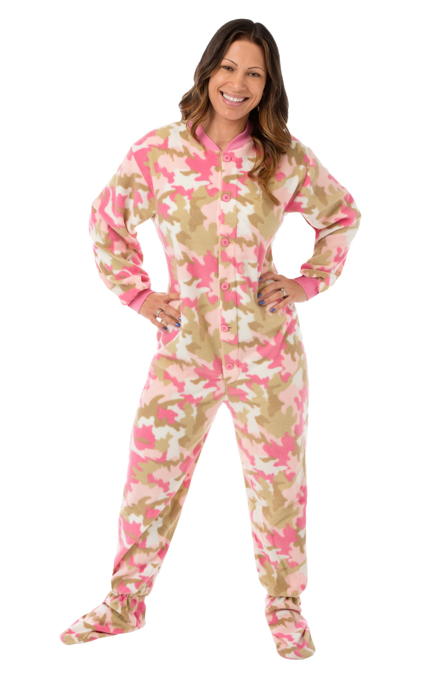 Pink Camouflage Fleece Women's Footed Onesie Pajamas with Drop Seat