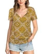 LANISEN Women's Casual Short Sleeve Ethnic Print Tops Sexy V Neck Chiffon Blouse Loose Shirts S-2XL