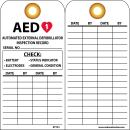 NMC RPT43G AED AUTOMATED External DEFIBRILLATOR Inspection Record Tag - [Pack of 25] 3 in. x 6 in. 2 Side Vinyl Inspection Tag with Black Text on White Base