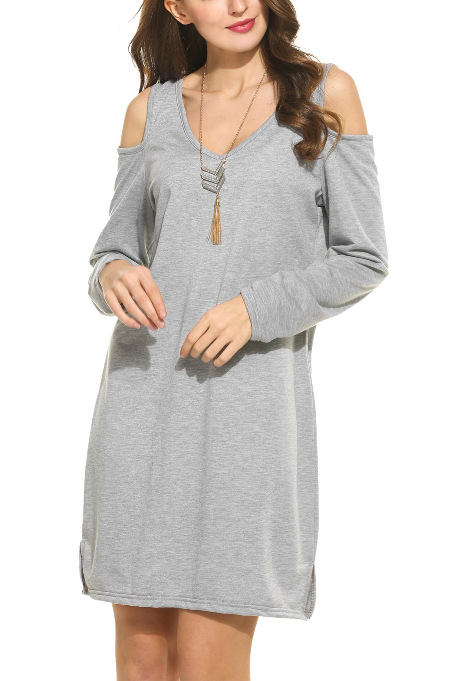 Meaneor Women's Sexy Cold Shoulder Mini Dress with V Neck Hollow Out