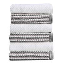 Great Bay Home 6-Piece Hand Towel Set. 100% Cotton Multi-Striped Bathroom Towels. Quick Dry and Absorbent Towels. Set Includes 6 Hand Towels. Milos Collection (6 Pack, Dark Gray/Light Gray)
