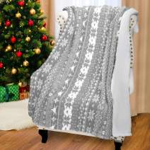 Catalonia Christmas Sherpa Throw Blanket,Super Soft Warm Fuzzy Comfy Snowflake Blankets,Reversible Fluffy Throws,Holiday Theme Blanket (50X60 inches,Grey)