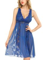 Womens Plus Size Lingerie Lace Babydoll Chemise V-Neck Nightgown Sexy Lingerie for Women S-4XL