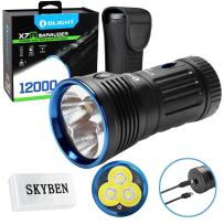 Olight X7R 12000 Lumens CREE XHP 70 LED USB Rechargeable Flashlight for Camping,Hunting,Searching,with 4 X 18650 Rechargeable Batteries (Built-in) and SKYBEN Accessory
