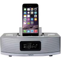 neon BTD622-37 Apple Certified Dual-Docking Lightning iPod/iPhone/iPad with Bluetooth, MP3 Link,FM Radio and 2 Alarm Clock Functions.